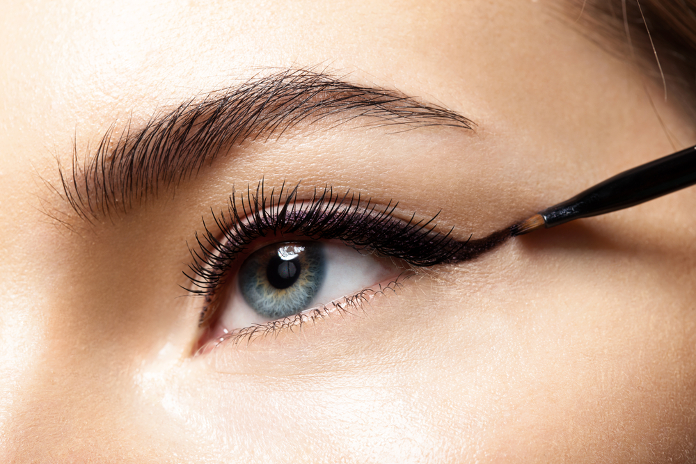 Makeup with a black eye close-up