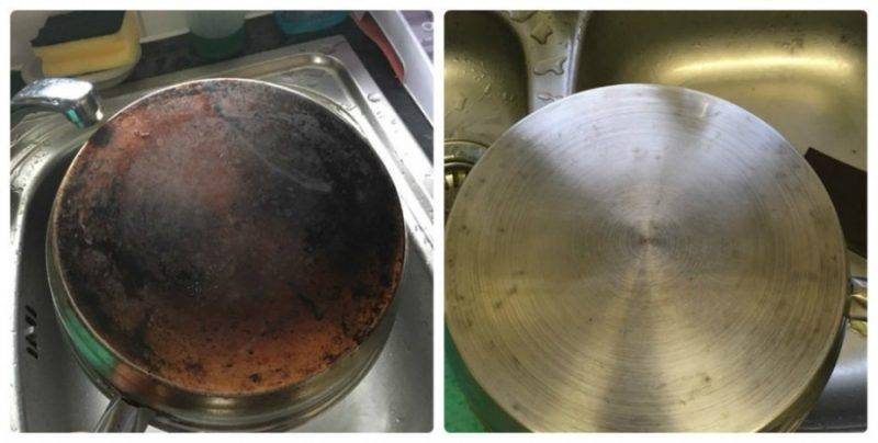 clean the backs of pans